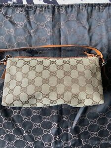 Gucci GG Monogram Small Zip Top Pochette Shoulder Bag Brown With Tan Leather