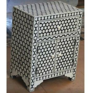 Bone Inlay Bedside Cabinet Table Black Geometric (MADE TO ORDER)