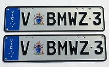 VIC Personalised Registration Plates - Euro Premium Slim Line - V-BMWZ-3