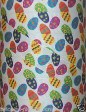 "5 yds 7.8"" VERY COLORFUL COLORED EASTER EGGS GROSGRAIN RIBBON CHEVRON POLKA DOT"