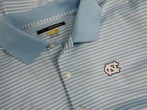 UNC University North Carolina Tar Heels Blue White Striped Golf Polo Shirt 2XL