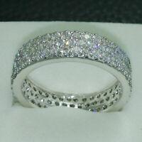 14k White Gold FN 1.80Ct Round Cut Moissanite Full Eternity Band Engagement Ring