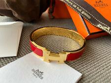 Classic Hermes Clic Clac Bracelet RED Enamel Gold Hardware PM Narrow Bangle