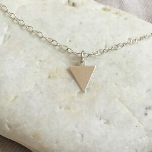 Silver Triangle Necklace Solid Sterling 925 Minimalist Geometric Small Triangle