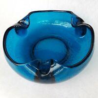 Vintage Cigar Ashtray Bowl Large Sapphire Blue Mid Century Crackle Glass