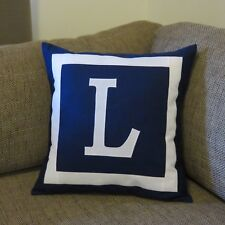PERSONALISED CUSHION COVER - MONOGRAM INITIAL -  NAVY -