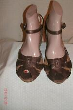 Clarks Artisan Metallic Bronze Leather Peeptoe  Sandals Shoes Shoe  Size 9,5 M