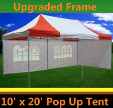 10'x20' Pop Up Canopy Party Tent - Red White - F Model Upgraded Frame