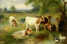 5 Calves Pond with Ducks by Edgar Hunt
