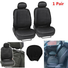 1Pair Black Universal Breathable PU Leather Car Seat Cover Front Seat Protector