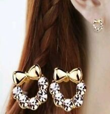 Chic Gold Plated Hello Kitty Rhinestone Fashion Earrings Childrens Jewellery