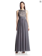 JS COLLECTIONS EMBELLISHED CHIFFON GREY GOWN DRESS sz 8