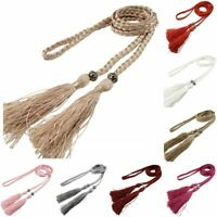Tie Thin Self-Tie Rope Bowknot Woven Tassel Belt Women Braided Decorated Waist