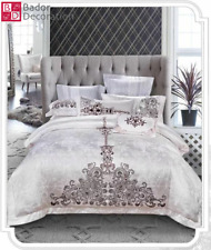 4tlg King Style Bedding Duvet Cover Cushion Hounds Single White Brown NEW
