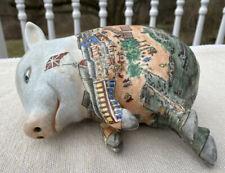 Vintage Hand Painted Japanese Chinese Sleeping Pig Statue Figurine