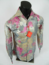 Mens Leonardi Dress Shirt Shiny Fuchsia Floral Patterns French Cuff Button Front