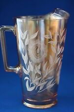 VINTAGE JEANETTE AMBER CARNIVAL COSMOS PITCHER WITH ICE LIP c1940