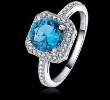 18K WHITE GOLD FILLED AQUA RING VALENTINE 8(Q) MADE WITH SWAROVSKI CRYSTALS GIFT