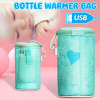 USB Heating Baby Milk Water Bottle Warmer Bag Travel Heater Insulation Portable