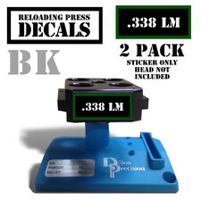 "338 LM Reloading Press Decals Ammo Labels 1.95"" x .87"" Sticker 2 Pack BLK/GRN"