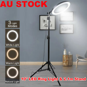 10 inch Dimmable LED Ring Light + 2.1m Tripod Stand Selfie Circle Lamp Make Up