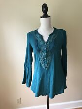 Anthropologie Meadow Rue Chennai Henley Top Size S, Green