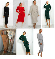 Ladies Warm Cable Knitted Pocket Tie Up Long Midi Party Jumper Dress Size 8-26
