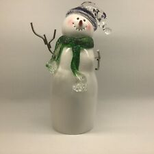 """White Acrylic Snowman Hat and Scarf Figurine 8.5"""""""
