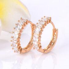 1 Pair Korean Classic 14K Yellow Gold Filled Clear Crystal Hoop Earrings Promise