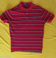 Ralph Lauren Red, Navy  Blue & White Stripe Polo Short Sleeve Shirt M