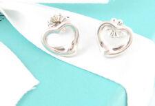 Auth Tiffany & Co Silver Peretti Open Heart Earrings Packaging Box Pouch Ribbon