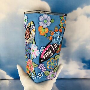 """OOAK Square Vase 3D Birds Flowers Tropical Colorful Fimo Polymer Clay 8"""" Tall"""
