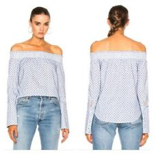 NWT $325 Derek Lam Off The Shoulder Embroidered Top white blue 4