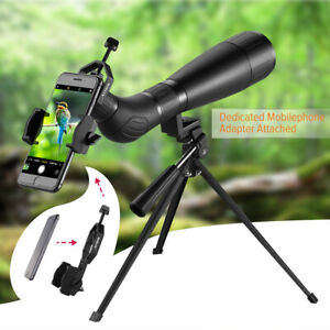 BAK4 Prism Spotting Scope 20-60X60 Zoom Telescope w/ Phone Mount Adapter Holder