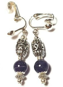 Short Silver Amethyst Clip-On Earrings Drop Dangle Vintage Chic Retro Boho Style