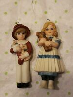 Jan Hagata Vintage 1986 lot of 2 Porcelain Girl Boy Hanging Christmas Ornaments
