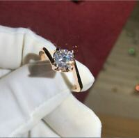 3Ct Round Brilliant Cut Diamond Solitaire Engagement Ring 14K Yellow Gold Finish