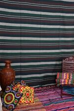 Indian Hand Loomed Striped Tapestry Cotton Bedding Boho Wall Hanging Ethnic Art