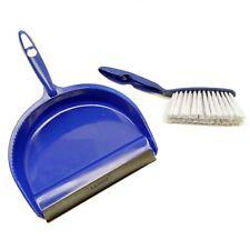 More details for blue dust pan and brush set dustpan dust sweeper soft nylon bristles sil173