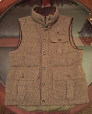 Ralph Lauren 100% Wool Tweed Down Quilted Hunter Vest & Leather Trim Sz Medium