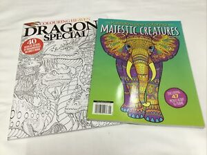 Lot of 2 Adult Coloring Books Majestic Creatures; Dragons