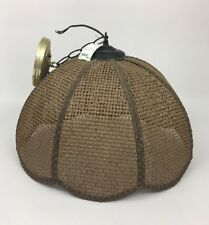 Retro Brown Wicker Rattan Light Rush Style Chain Hanging Swag Ceiling Lamp