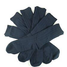 WANDER Mens Dress Socks 6 Pairs Classic Rib Cotton Solid Premium Socks (Navy)