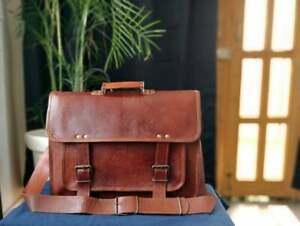 Unisex Laptop Bag Real Goat Leather Vintage Brown Messenger Shoulder Briefcase