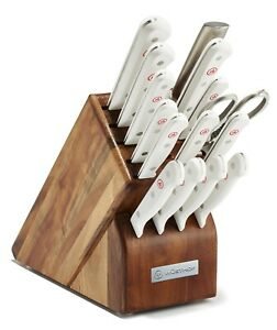 Wusthof Gourmet Sixteen Piece Block Knife Set White 1095471601 NEW