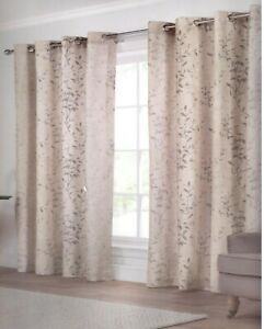 """TRAVELING GLITTER SILVER LEAF CREAM NATURAL LINED RING TOP/EYELETCURTAINS 60X72"""""""
