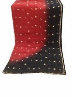 Om Vintage Dupatta Art Silk Hand Beaded Zardozi Maroon Stole Hijab Veil -XAD1154