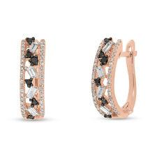 14K Rose Gold Black And White Baguette Round Diamond Huggie Earrings