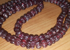 Extravagant Vintage Pomegranate Red Tobe Genuine Ruby Pumpkin Carved Bead Strand