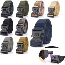 "1.5"" Mens Nylon Tactical Belt Quick Release Magnetic Buckle Webbing Belts New"